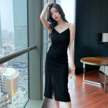 Dress Summer 2021 Black long black short S M L XL 2XL Mid length dress singleton  Sleeveless commute V-neck middle-waisted Solid color Socket Pencil skirt other camisole 18-24 years old Type A Yacaiyi Korean version More than 95% other other Other 100% Pure e-commerce (online only)