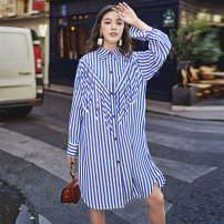 shirt stripe S, M Autumn 2020 polyester fiber 96% and above Long sleeves commute Medium length square neck Single row multi button routine stripe 18-24 years old Straight cylinder Korean version Tassels, stitching, three-dimensional decoration