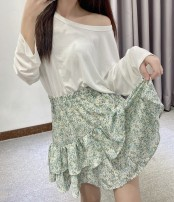 Dress Spring 2021 Summer fresh floral skirt, chest bandage waist dress, pleated suspender floral skirt S,M,L Short skirt singleton  commute High waist Solid color A-line skirt 25-29 years old Type A Korean version 91% (inclusive) - 95% (inclusive) other