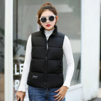 Vest Winter 2020 Black, white, button waistcoat M,L,XL,2XL,3XL have cash less than that is registered in the accounts stand collar Versatile Solid color zipper other 25-29 years old Other / other 91% (inclusive) - 95% (inclusive) polyester fiber Pocket, panel, zipper cotton