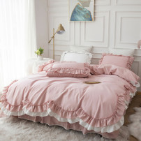 Bedding Set / four piece set / multi piece set cotton other Solid color 133x72 Other / other cotton 4 pieces 40 Bed skirt First Grade Princess style 100% cotton twill Reactive Print