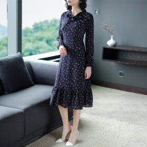 Dress Spring 2020 dark blue S, M Mid length dress singleton  Long sleeves commute other High waist Decor Socket A-line skirt routine Others 30-34 years old weiweimei Print, ruffle, lace up, stitching 68811-1 other other