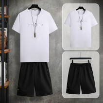 T-shirt Youth fashion routine XXL XXXL M L XL Nordic Wolf Short sleeve Crew neck Self cultivation Other leisure summer Cotton 95% polyurethane elastic fiber (spandex) 5% youth routine tide Cotton wool Summer 2021 Alphanumeric printing cotton other No iron treatment Fashion brand More than 95%