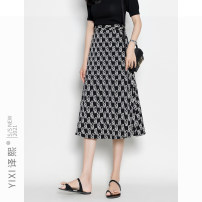 skirt Polyester 100% Summer 2021 Medium length skirt High waist A-line skirt More than 95% polyester fiber 25-29 years old Yixi yxsk7168 XS S M L XL 2XL Black and white