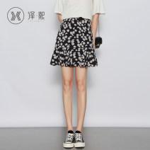 skirt Summer 2020 XS S M L XL 2XL black Short skirt commute High waist A-line skirt Decor Type A Yixi printing Korean version Pure e-commerce (online only)