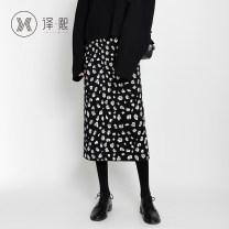 skirt Autumn 2020 F-code Pink light Khaki black grey apricot Mid length dress commute High waist A-line skirt Leopard Print 25-29 years old yx6829 31% (inclusive) - 50% (inclusive) Yixi Viscose Korean version