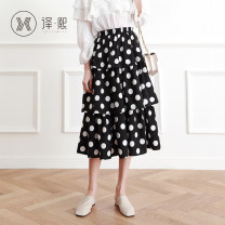 skirt Spring of 2019 S M L Apricot black Mid length dress commute High waist Cake skirt Dot 18-24 years old More than 95% Chiffon Yixi polyester fiber Korean version Polyester 100% Pure e-commerce (online only)