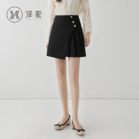 skirt Spring 2020 XS S M L XL 2XL black Short skirt commute High waist A-line skirt Solid color Type A 18-24 years old yx6180 91% (inclusive) - 95% (inclusive) Yixi polyester fiber Korean version Polyester 95% polyurethane elastic fiber (spandex) 5% Pure e-commerce (online only)