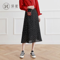 skirt Summer of 2019 XS S M L XL 2XL black Mid length dress commute High waist A-line skirt Dot Type A yx2876 More than 95% Yixi polyester fiber Korean version Polyester 100% Pure e-commerce (online only)