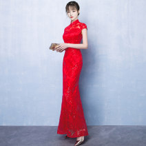 cheongsam Summer of 2018 S M L XL XXL Short sleeve long cheongsam Retro No slits wedding Straight front Solid color 18-25 years old other Other 100% Pure e-commerce (online only) 96% and above