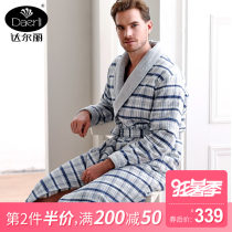 Nightgown / bathrobe Darley male LXLXXL F978101-031 thickening Simplicity cotton winter More than 95% Long (below Mid Calf) Knitted cotton clip stripe youth F978101 Autumn and winter 2017 Cotton 100% Cotton 100%