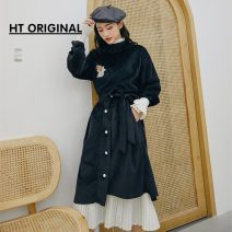 skirt Spring of 2019 S. M, top [one size fits all] black Mid length dress Retro Natural waist Irregular Solid color Type H 71% (inclusive) - 80% (inclusive) polyester fiber Bowknot, flocking, Ruffle