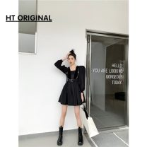 Dress Winter 2020 Black dress in stock, black leather vest in stock S,M,L Middle-skirt singleton  Long sleeves commute High waist Solid color routine 18-24 years old Simplicity 51% (inclusive) - 70% (inclusive) other