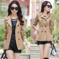 short coat Autumn of 2018 3XL,2XL,XL,L,M Green, light green, yellow, khaki, Burgundy, red, rose Long sleeves have cash less than that is registered in the accounts routine singleton  Self cultivation street routine tailored collar double-breasted Solid color 96% and above polyester fiber