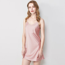 Nightdress Devina S M L XL sexy camisole pajamas Middle-skirt summer Solid color youth V-neck SQ619-131 Summer 2020 Polyester 96% polyurethane elastic fiber (spandex) 4%
