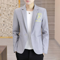 man 's suit Grey, beige, light green Others Youth fashion routine M,L,XL,2XL,3XL 217-JK201 Polyester 100% Self cultivation A double breasted button Other leisure No slits youth Long sleeves Four seasons routine tide Flat lapel Round hem 2020 No iron treatment