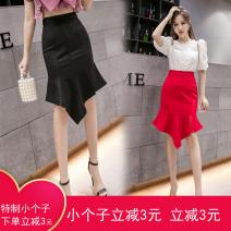 skirt Summer 2020 XXS,XS,S,M,L,XL Red, blue, black Middle-skirt High waist skirt