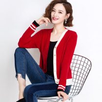 Wool knitwear Spring 2021 M L XL XXL XXXL Camel red blue black Long sleeves singleton  Cardigan other More than 95% have cash less than that is registered in the accounts Thin money commute easy V-neck routine Color matching Single breasted Korean version YRXJF8075JJ Yirenxuan Other 100%