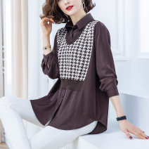shirt Brown Black M L XL XXL XXXL Spring 2021 other 96% and above Long sleeves commute Regular Polo collar Socket shirt sleeve lattice 35-39 years old Straight cylinder Yirenxuan Korean version Other 100% Pure e-commerce (online only)