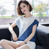 T-shirt Yellow blue green black M L XL XXL XXXL Summer 2020 Short sleeve Crew neck easy have cash less than that is registered in the accounts Bat sleeve commute other 96% and above Korean version classic Color matching Yirenxuan Splicing Other 100% Pure e-commerce (online only)