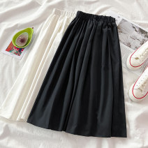 skirt Spring 2021 S M L XL White black Mid length dress commute High waist A-line skirt Solid color Type A 18-24 years old 1.22Y-07 More than 95% VV combination cotton Korean version Cotton 100% Pure e-commerce (online only)