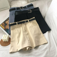 Casual pants Black blue apricot S M L XL Spring 2021 shorts Wide leg pants High waist commute routine 18-24 years old 96% and above VV combination cotton Korean version pocket Other 100% Pure e-commerce (online only) Asymmetry