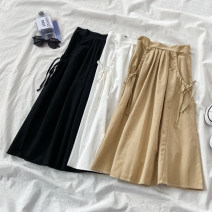skirt Autumn 2020 Average size Black white apricot longuette commute High waist A-line skirt Solid color Type A 18-24 years old More than 95% VV combination other Frenulum Other 100% Pure e-commerce (online only)