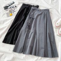 skirt Winter 2020 S M Grey black longuette commute High waist A-line skirt Solid color Type A 18-24 years old K120701 More than 95% VV combination polyester fiber Pleated bandage Korean version Polyethylene terephthalate (polyester) 100% Pure e-commerce (online only)