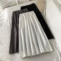 skirt Summer 2021 Average size White grey black Mid length dress commute High waist A-line skirt Solid color Type A 18-24 years old More than 95% other VV combination cotton Pleated fold Korean version Cotton 100% Pure e-commerce (online only)