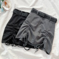 skirt Winter 2020 S M L XL Black grey Short skirt commute High waist A-line skirt Solid color Type A 18-24 years old 1203-1203H-06 51% (inclusive) - 70% (inclusive) other VV combination polyester fiber Bandage Korean version Pure e-commerce (online only)