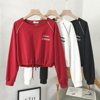 T-shirt White, red, black Average size Autumn 2020 Long sleeves Crew neck easy have cash less than that is registered in the accounts routine commute cotton 71% (inclusive) - 85% (inclusive) 18-24 years old Korean version youth letter VV combination J2020-08063 Lace up embroidery
