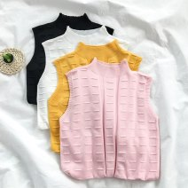 T-shirt White yellow pink black Average size Summer 2020 Sleeveless stand collar Straight cylinder Regular commute Viscose 96% and above 18-24 years old Solid color VV combination H31101X Viscose (viscose) 100% Pure e-commerce (online only)