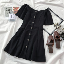 Dress Summer 2020 black S M L Short skirt singleton  Short sleeve commute One word collar High waist Solid color Single breasted A-line skirt puff sleeve Others 18-24 years old VV combination Korean version Button More than 95% cotton Cotton 100% Pure e-commerce (online only)