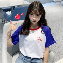 T-shirt S M L XL Summer of 2019 Short sleeve Crew neck easy Regular routine commute polyester fiber 86% (inclusive) -95% (inclusive) 18-24 years old Korean version originality Geometric pattern letters VV combination Stitching embroidery Polyester 95% polyurethane elastic fiber (spandex) 5%