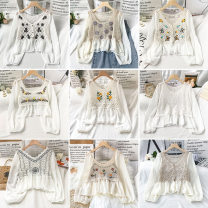 Lace / Chiffon Spring 2021 Average size Long sleeves commute Socket singleton  easy Regular V-neck Decor puff sleeve 18-24 years old VV combination K022501 Pleated button Korean version Other 100% Pure e-commerce (online only)
