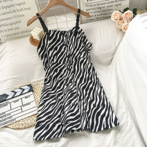 Dress Spring 2021 Zebra pattern S M L XL Middle-skirt singleton  Sleeveless commute other High waist Zebra pattern Single breasted A-line skirt camisole 18-24 years old Type A VV combination Korean version 1.22Y-04 More than 95% other Other 100% Pure e-commerce (online only)