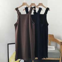 Dress Autumn 2020 Brown Black Average size longuette singleton  Sleeveless commute other Loose waist Solid color Socket A-line skirt other camisole 18-24 years old Type A VV combination Korean version Pleated fold 8.21-G-8.22-1730 More than 95% polyester fiber Polyester 100%