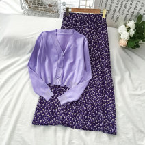 Fashion suit Spring 2021 Average size Purple sweater purple skirt 18-25 years old VV combination SD-1128-08 Viscose (viscose) 100% Pure e-commerce (online only)