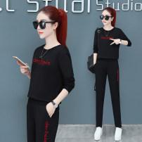 Casual suit Autumn of 2019 Black red blue green M (recommended 80-100 Jin) l (100-115 Jin recommended) XL (115-130 Jin recommended) 2XL (130-145 Jin recommended) 3XL (140-160 Jin recommended) 4XL (160-180 Jin recommended) Niselin Cotton 95% polyurethane elastic fiber (spandex) 5%
