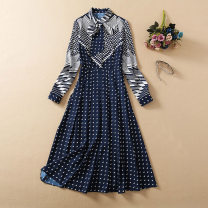 Dress Spring 2021 Decor S,M,L,XL longuette singleton  Long sleeves commute Polo collar middle-waisted Solid color Socket One pace skirt routine Others 25-29 years old Type A lady Button, print, s Ribbon L0104-1288 More than 95% other polyester fiber