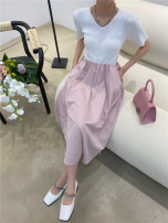 Dress Summer 2021 Black, white, pink Average size Mid length dress singleton  Short sleeve commute V-neck High waist Solid color Socket A-line skirt routine 18-24 years old Type A Korean version Bow, fold More than 95% cotton
