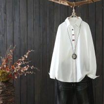 shirt white Average size Spring 2020 other 96% and above Long sleeves commute Regular Polo collar Single row multi button routine Solid color 25-29 years old Straight cylinder Qiuessii / autumn literature muchi021 Decorative buttons with embroidered thread Other 100% Pure e-commerce (online only)