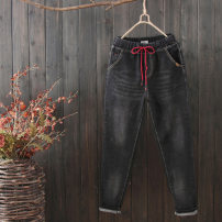 Jeans Spring of 2018 Black blue trousers High waist Pencil pants 25-29 years old Make old, wash and whiten Multi Pocket Qiuessii / autumn Other 100% Pure e-commerce (online only)