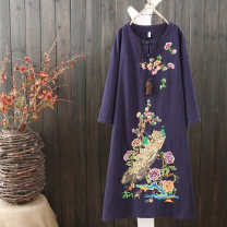Dress Fall 2017 White red Chinese Red Navy M L XL XXL longuette singleton  Long sleeves commute Crew neck Loose waist Animal design Socket A-line skirt routine Others 30-34 years old Type A Qiuessii / autumn literature Embroidered zipper 51% (inclusive) - 70% (inclusive) cotton Cotton 65% flax 35%