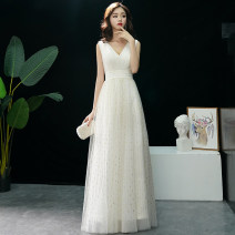 Dress / evening wear Weddings, adulthood parties, company annual meetings, daily appointments XS S ml XL XXL customized + 20 yuan non refundable Korean version longuette middle-waisted Autumn of 2018 Fall to the ground Deep collar V zipper 18-25 years old Sleeveless Tiffany routine Other 100%