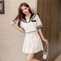Fashion suit Summer 2020 S. M, l, XL, 2XL, to ensure that the object is consistent with the picture White, black, white long sleeves, black long sleeves 18-25 years old L5-21 31% (inclusive) - 50% (inclusive) polyester fiber