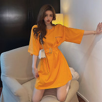 Dress Summer 2021 orange , Rose red Average size Middle-skirt singleton  Short sleeve commute Crew neck High waist Solid color A-line skirt routine Others 18-24 years old Korean version X4 - nine 31% (inclusive) - 50% (inclusive) other polyester fiber