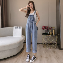 Jeans Spring 2021 blue XS,S,M,L,XL trousers High waist rompers routine 18-24 years old Wash, multiple pockets, other Cotton denim light colour X2-24 31% (inclusive) - 50% (inclusive)