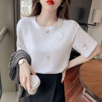 T-shirt White, pink, yellow S,M,L,XL Summer 2021 Short sleeve Crew neck easy Regular routine commute cotton 31% (inclusive) - 50% (inclusive) 18-24 years old Korean version originality Solid color X4-6 Embroidery