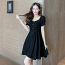 Dress Summer 2021 black S,M,L,XL,2XL Middle-skirt singleton  Short sleeve commute square neck middle-waisted Solid color Socket Big swing other Others 18-24 years old Type A Korean version Frenulum X4-5 31% (inclusive) - 50% (inclusive) other other